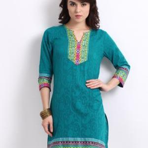 Blue Jacquard Kurta for Woman,(Perf..