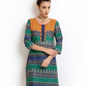 Women Green & Blue Printed Kurta (Perfect Gift For Women) Super Fast Delivery : Your Daughter, GF And Wife Will Have Big Smile And Happiness